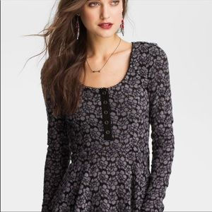 Free People Black Lace Peplum Top NWT